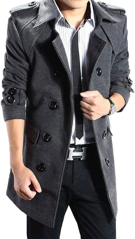 cba3041f Frieed Men's Men's Men's Wool-Blend Waterfall Collar Double-Breasted Winter  Outwear Pea Coat 5d3ac5
