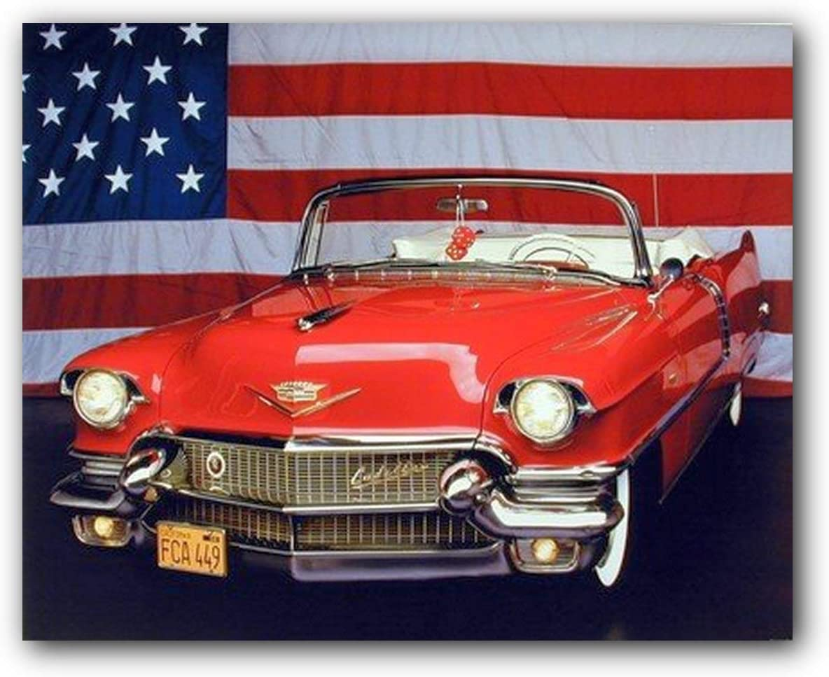 Wall Art Print of Red and White Cadillac Automobile