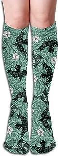 Whirley Birds and White Flowers - Zoom 2 Vea cómodas medias adultas hasta la rodilla Calcetines altos para gimnasio 50cm 19.7inch