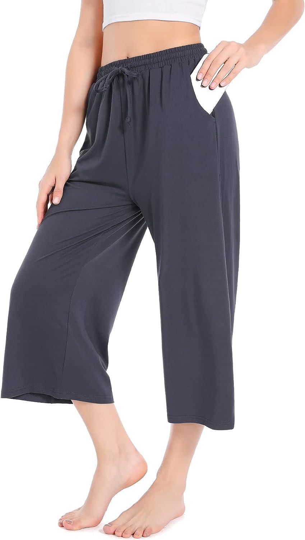 ASIMOON trust Womens Capri Purchase Yoga Pants Wide Lounge Drawstring Leg