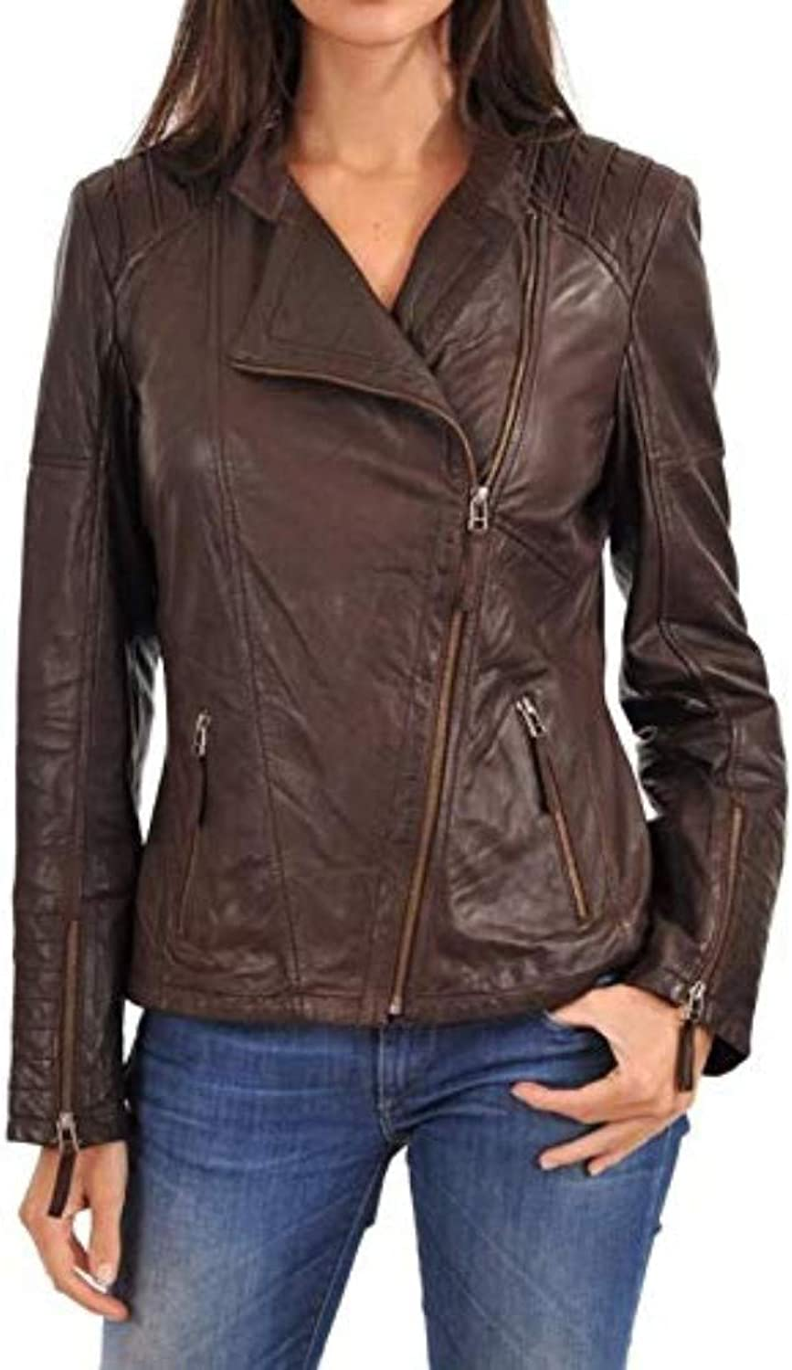 New Fashion Style Women's Leather Jackets Dark Brown D64_