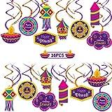 Diwali decoraciones colgantes Happy Diwali remolinos colgantes para luces Festival hindú Diwali suministros de decoración para fiestas 40 piezas