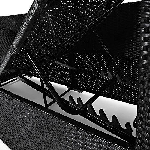 Deuba Poly Rattan Lounge Liege Mit Sonnendach 7cm Dicke Auflagen Klapptisch Schwarz Sonnenliege Gartenliege Garten Sofa - 3