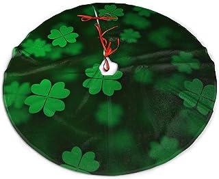 MJINSJIA-TS Irish Shamrock Christmas Tree Skirt Gorgeous for Xmas Party Ornaments Decoration Accessory Gift