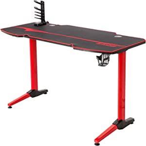 Homall Gaming Desk 55 Inch Office PC Computer Desk T-Shaped with Full Desk Mouse Pad, USB Gaming Handle Rack, Cup Holder and Headsetrack(Red Leg)