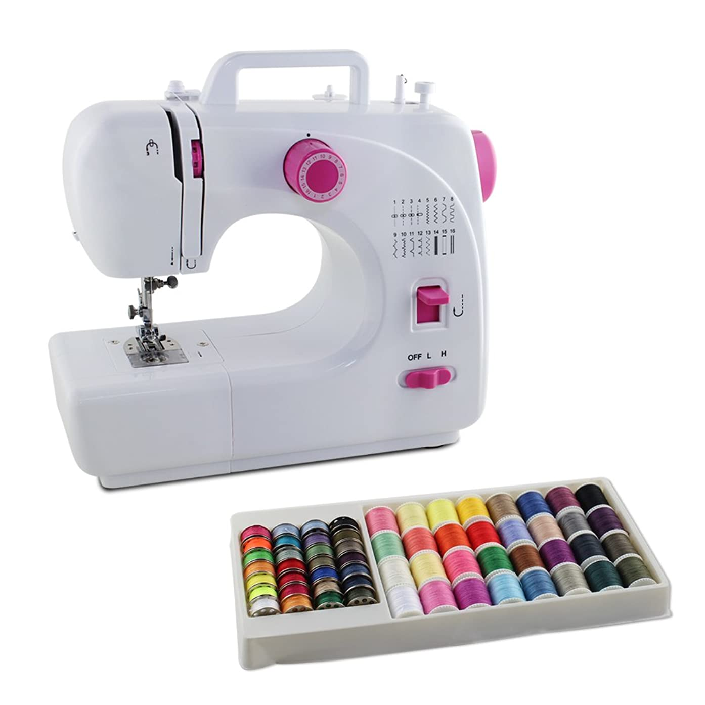 LIANTRAL Sewing Machine 16 Built-in Stitch, 1-Step Button Sewing, Free with 60 Threads,?Perfect Compact Sewing Beginner Machine