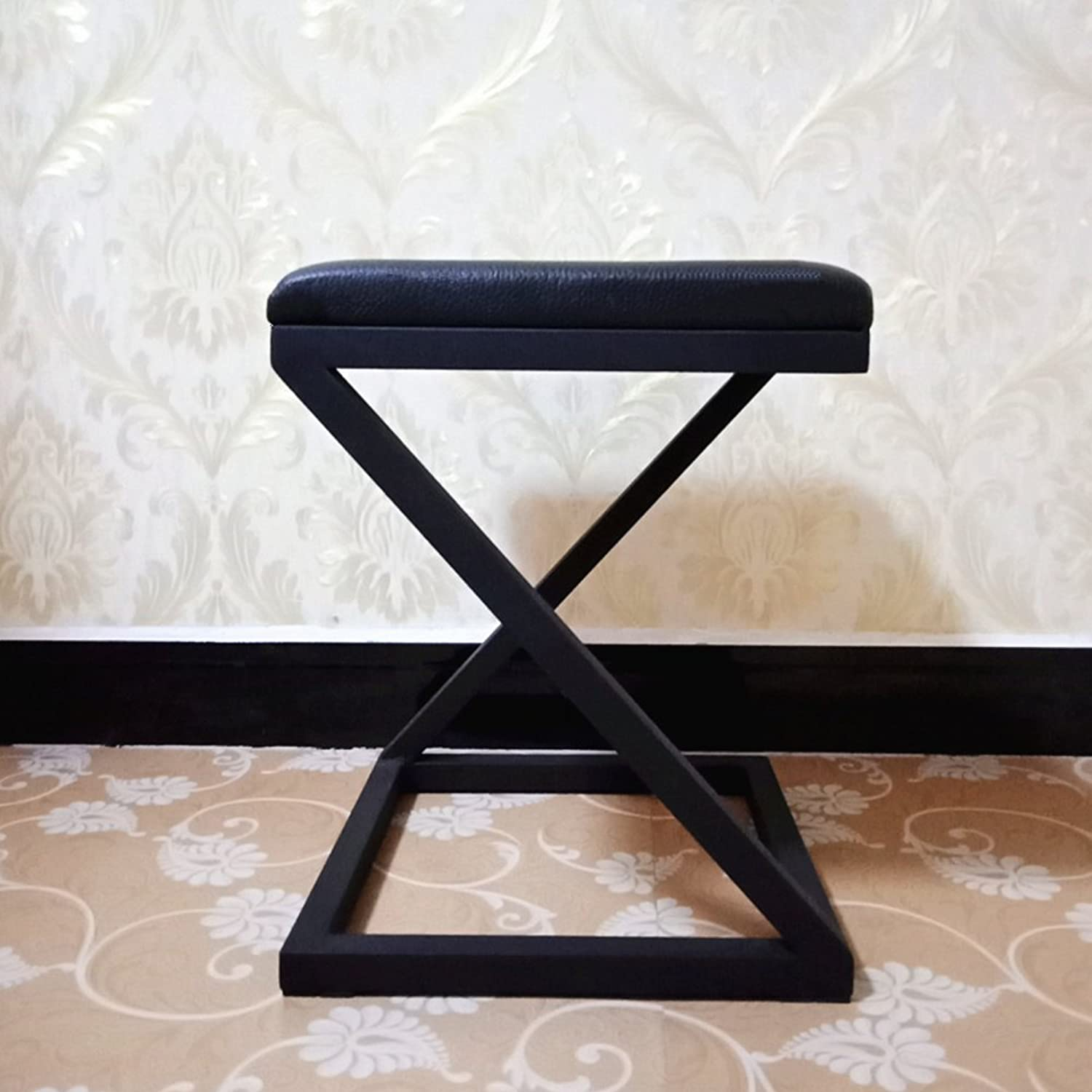 Nordic Style Leather Wrought Iron Stool,Metal Multifunctional Simple Modern Minimalist Durable Easy Storage Living Room Bedroom Home Decoration Stool-E 35x35x45cm