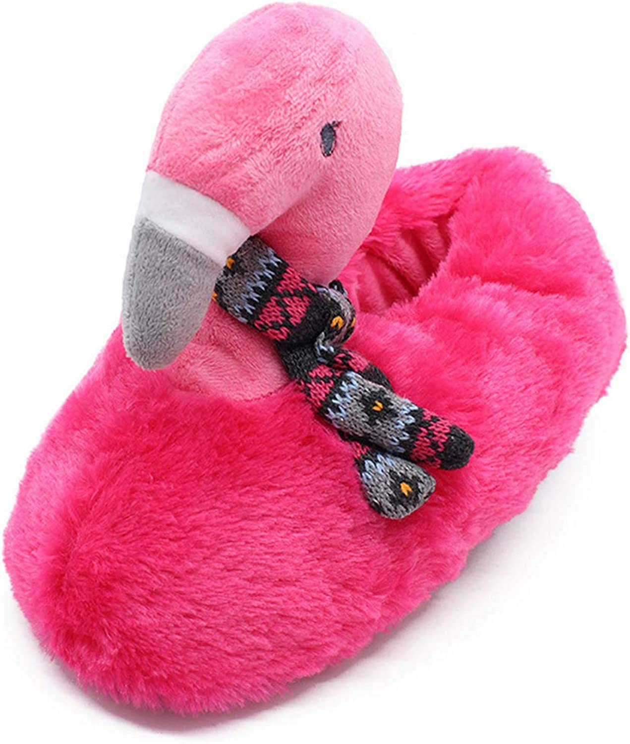 Nafanio Winter Flamingo Boots Slippers Soft Plush shoes Women House Indoor Fur Cartoon Comfortable Bedroom Flats
