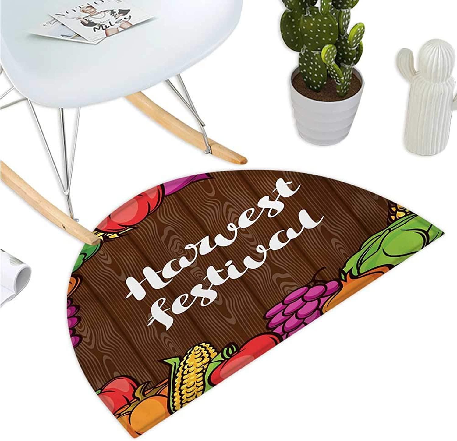 Harvest Half Round Door mats Cartoon Style colorful Food Frame Traditional Harvest Festival Calligraphy Bathroom Mat H 39.3  xD 59  Brown Multicolor