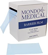 "MonMed Barrier Film Blue and Film Box Dispenser – 4"" x 6"" Inch Sheets, 1200 per Roll – Dental Film Tattoo Film"