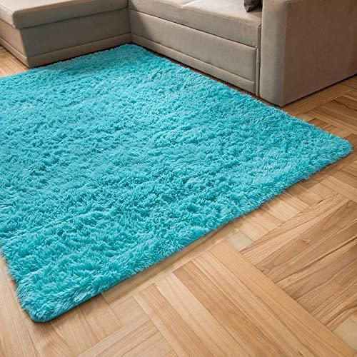 Inyear Teppich hochfloriger Wohnzimmerteppich Wohnzimmerteppich geeignet für Schlafzimmer und Kinderzimmer weicher moderner Flauschiger Teppich rutschfest 140 x 200 cm(Türkis)