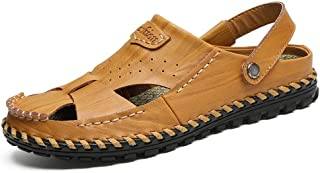 Fashion Sandals for Men Fashion Slipper Shoes Slip On OX Leather Hollow Dual Purpose Men's Boots (Color : Yellow Brown, Size : 6 UK)
