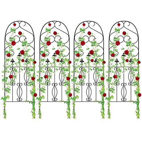 Amagabeli 4 Pack Garden Trellis for Climbing Plants 60' x 18' Rustproof Sturdy Black Iron Trellis for Potted Plants Support Lattice Metal Trellis for Climbing Roses Vines Flower Vegetable GT01