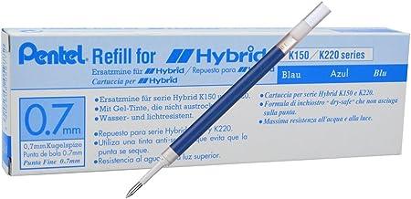 Pentel KFR7Refill for Hybrid Gel Roller Pen–Pack of 12 Blue