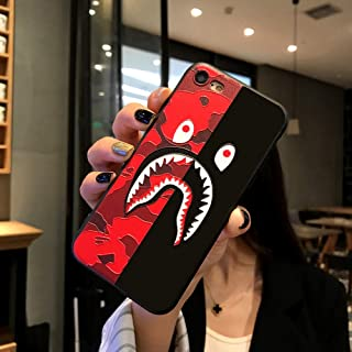 Kplvet iPhone 8 iPhone 7 Case,Ultra Soft Embossed Craft Durable Non Faded Coloring Super Slim Thin 4.7 iPhone-8 7 Case,Street Fashion Trend Basic Protective iPhone-Designer Cover (Red Black ShaYu)