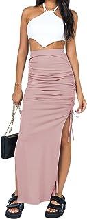 ZGMYC Women's Drawstring Ruched High Waist Midi Skirt Elegant Side Split Bodycon Skirt