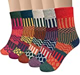 Loritta 5 Pairs Womens Vintage Style Winter Soft Warm Thick Knit Wool Crew Socks,Multicolor 02,One Size