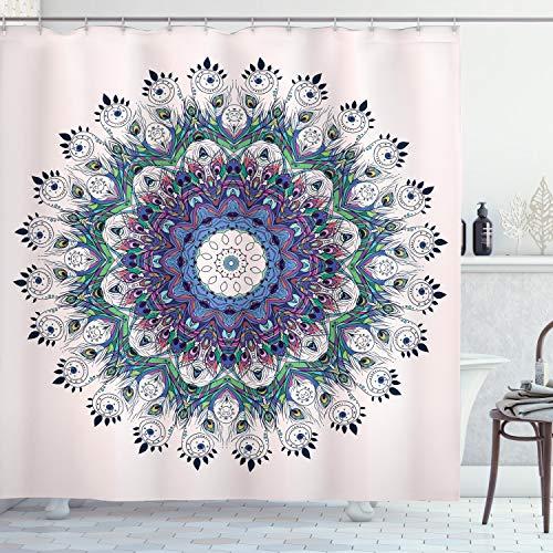 ABAKUHAUS Mandala Cortina de Baño, Arte Colorido del Pavo Real, Material Resistente al Agua Durable Estampa Digital, 175 x 200 cm, Multicolor