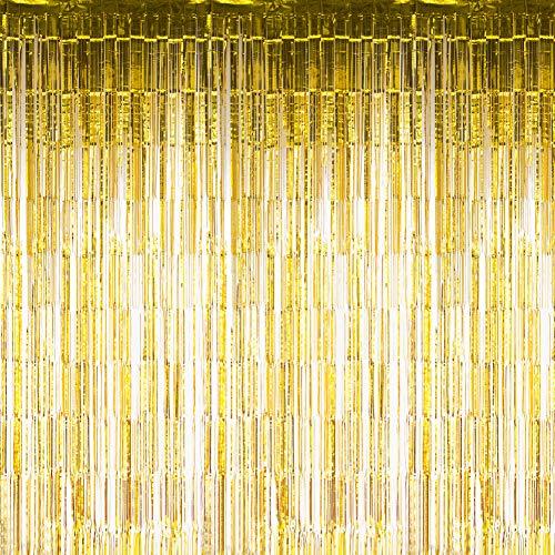 Sunbeauty Fotocall, Cortina Lista Franja Decoración de la Boda Celabración Cumpleaños Cortina Dorada Fiesta, 90 * 240 cm, Dorado