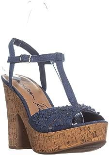 AR35 Jamie1 Casual Platform Sandals, Denim Flowers Cork