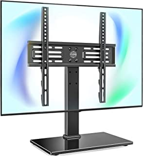 FITUEYES Tabletop TV Stand with Security Wire for 27''-55'' LCD LED TV- 6 Level Height Adjustable with Tempered Glass Base Max VESA 400x400 TT103701GB