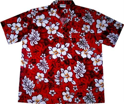 "Hawaiihemd / Hawaiishirt ""Classic Flowers (red)""  100% Baumwolle  Größe XL   Bekleidung > Hemden > Hawaiihemden   Hawaiihemdnet"