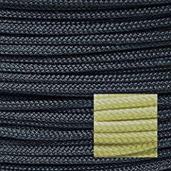 FIBER TYPE: 100% Genuine Dupont BLACK Kevlar(R) yarn made in the USA. No off brand substitution! No fine print about other fiber in the braid! CONSTRUCTION: 16 strand braid, twisted core with a clear synthetic finish for added stiffness and UV resist...