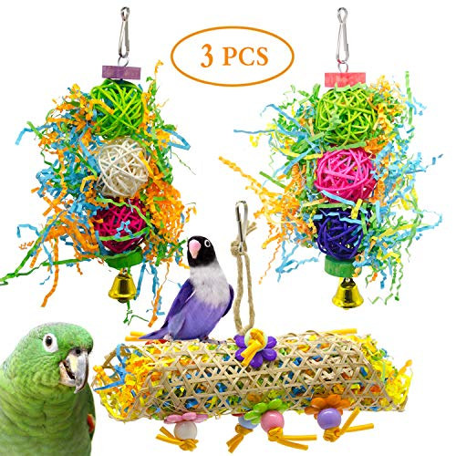 SHANTU 3Pack Bird Chewing Toys Foraging Shredder Toy Parrot Cage Shredder Toy Foraging