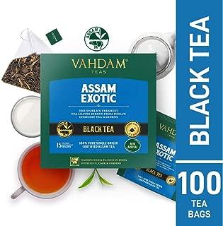 VAHADM, Assam Exotic Black Tea, 100 Count - RICH & MALTY | Assam Tea Bags | Black Tea Bags 100 Count | Breakfast Tea Bags | 100% Certified Pure Unblended Assam Tea