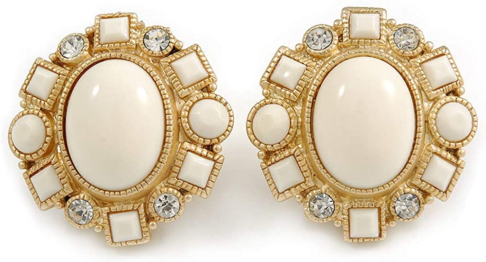 Large Oval Matt Gold Tone, Clear Crystal with Milky White Acrylic Bead Clip-On Earrings - 35mm Tall