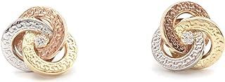 Pendientes mujer/chica oro tricolor 18 quiilates compuesto por 3 circulos con greca en oro blanco,oro rosa y oro amarillo ...