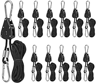 """6 Pairs 1/8"""" Heavy Duty Ratchet Ropes, Adjustable Rope Ratchet Hanger, Grow Light Rope Hangers for Grow Plant Fan Filter L..."""