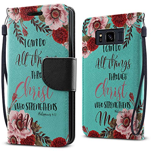 FINCIBO Case Compatible with Samsung Galaxy S8 ACTIVE G892A, Fashionable Wallet Cover Case + Card Holder Stand For Galaxy S8 ACTIVE (NOT FIT S8/ S8 PLUS) - Christian Bible Verses Philippians 4:13