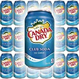 Canada Dry Club Soda Sparkling Seltzer Water, 12oz Can (Pack of 18, Total of 216 Oz)