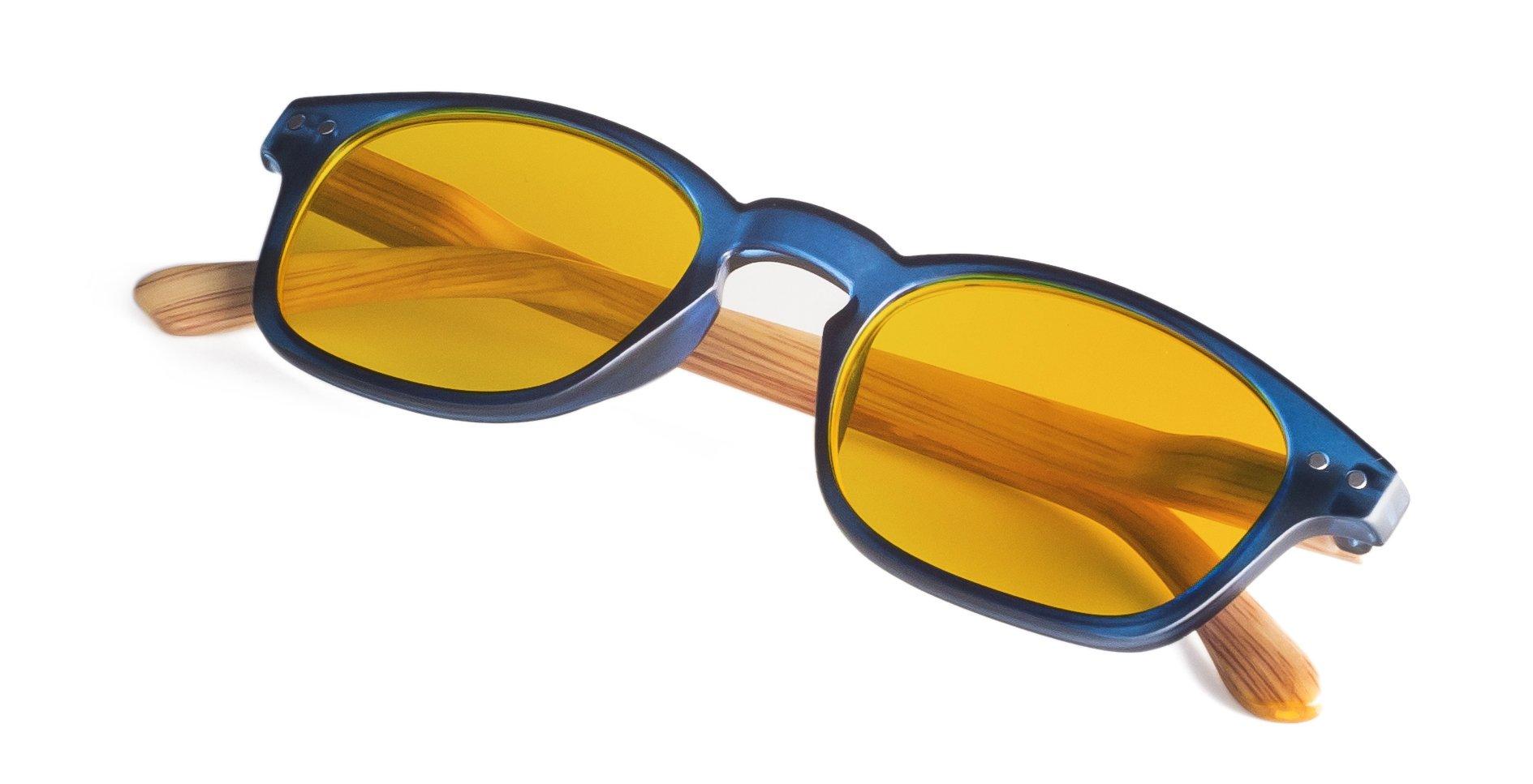 蓝色滤光电脑眼镜,带竹外观臂 0.0 放大