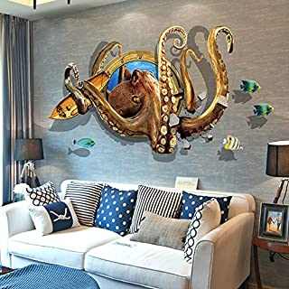 ChezMax 3D Animal Octopus Wall Sticker DIY Removable Wall Decals Wallpaper Decorative Wall Art Mural for Home 23.6