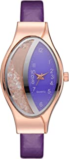 Stylish watch Women's Watch Crystal Quartz Wrist Watch with Oval Dial Rhinestone Fashionable Watch for Elegant Ladies,Purple Watch