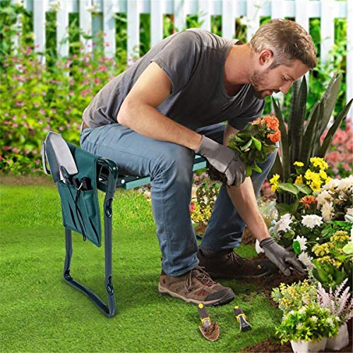 HOOJUEAN Foldable Garden Kneeler and Seat, Portable Garden Stool w/ 2 Bonus Tool Pouches and EVA Foam Pad Capacity-Protects Your Knees, Clothes from Dirt Grass Stains
