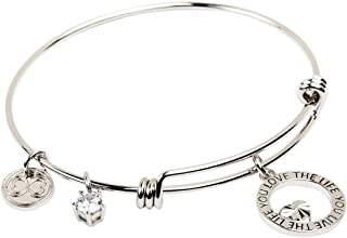 """Expandable Inspirational Stackable Charm Bracelet """"Love The Life You Live"""