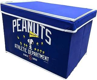 たっぷり入る スヌーピー フタ付き 収納ボックス 折りたたみ BOX 約W38×H26×D26cm (ネイビー)