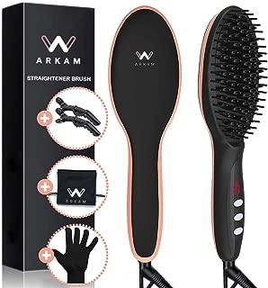 Arkam Ionic Hair Straightener Brush - Dual Ceramic Heating, LED Display, Variable Temperature Settings, Anti-Scald Hair Straightening Brush, Portable 2 in 1 Hair Brush Straightener Silky Smooth Hair