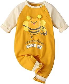 Mono De Manga Larga para Bebé Estampado De Abeja Amarilla Mezcla De AlgodóN Traje Casual De Escalada Mamelucos Pijama Suave Y CóModo Petos Regalo De CumpleañOs Ropa De Bebe