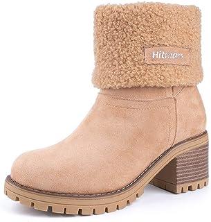 Botas Mujer Invierno Forradas Cálidas Botines Serraje Tacón Ancho Medio 6CM Plataforma Zapatos Nieve Cómodos Casual EU 35-43