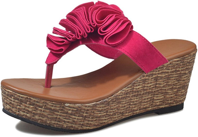 CYBLING Womens Platform Wedge Sandals Fashion Flower Mid Heel Non-Skid Flip-Flop Dress Slipper