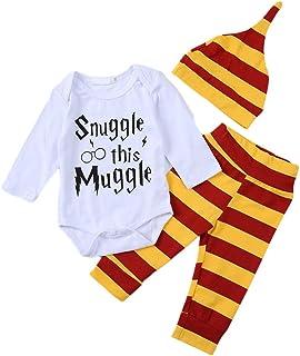 Anywow Säugling Brief Gedruckt Onesies Hosen Hut Kleidung Set Baby Jungen Snuggle This Muggle Strampler Streifen Hosen Kleidung