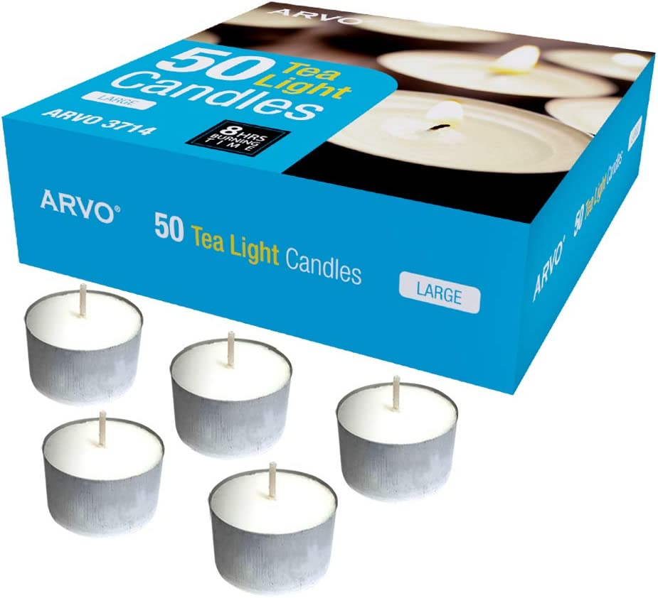 6-8 Hour Burn Time 23g ARVO Tealight Candles White Pack of 100 Unscented Wax Candles