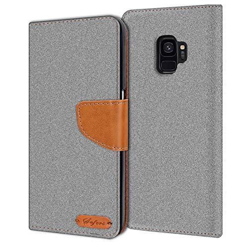 Verco Galaxy S9 Hülle, Schutzhülle für Samsung Galaxy S9 Tasche Denim Textil Book Case Flip Case - Klapphülle Grau
