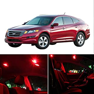 SCITOO Fits For 2003-2012 Honda Accord Interior LED Light 8 Pcs Red Package Kit Dome Light Map Light License Plat Light