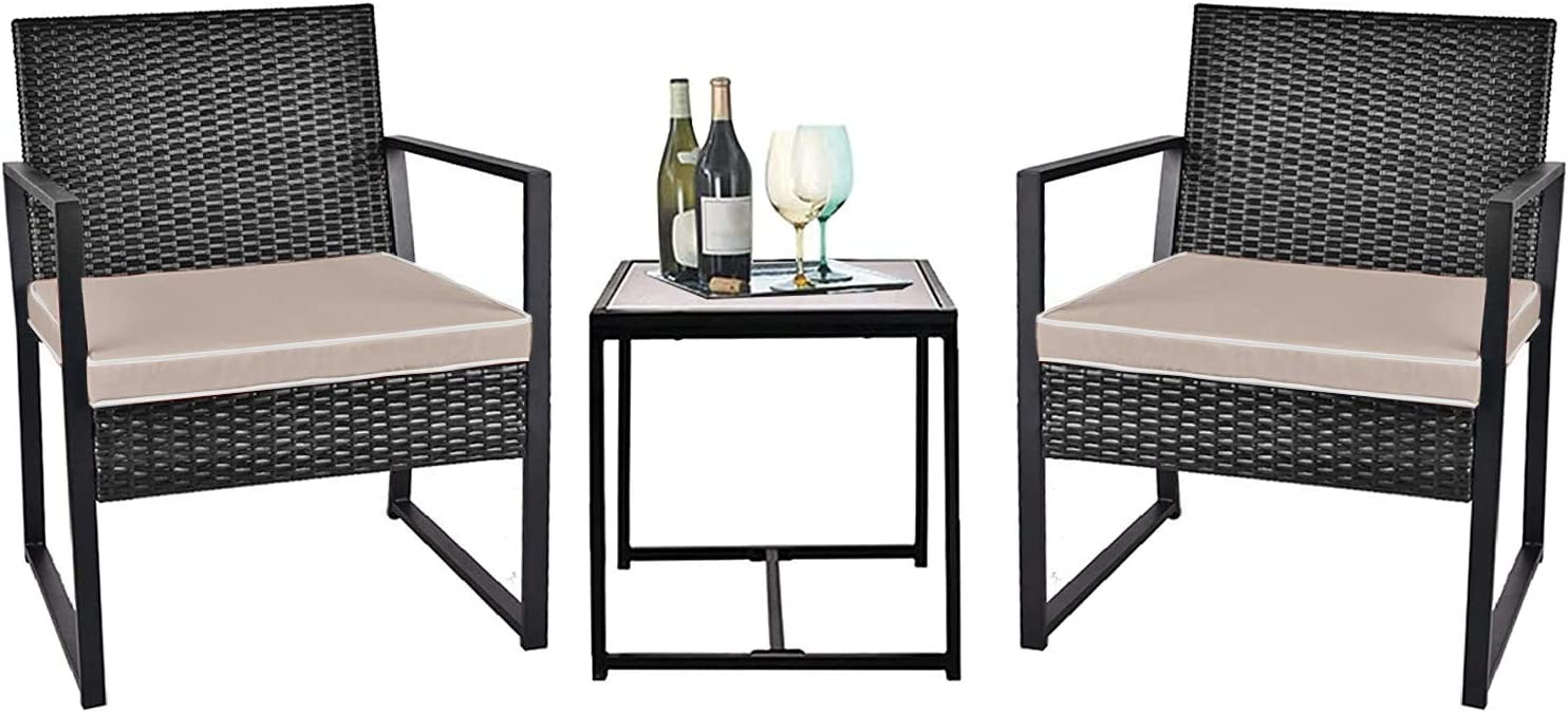 Selling and selling Grepatio 3 Piece Regular store Patio Conversation Set Wicker Outdoor Furnitur