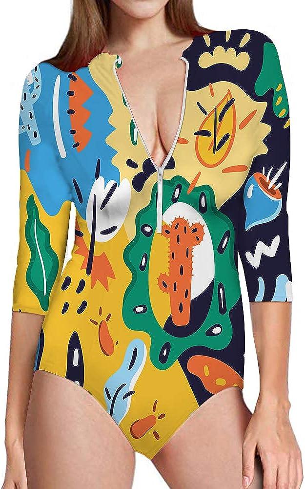 Graffiti Floral Women's One Piece Swimsuits Long Sleeve UV Protection Surfing Rash Guard Zip Bathing Suit Swimwear